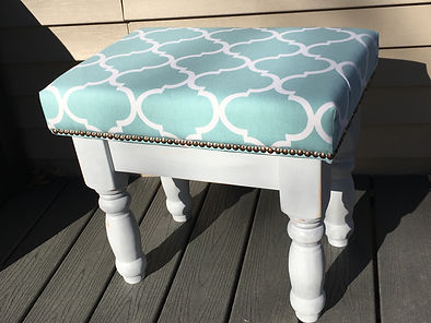 end table transformed into an upholstered  bench