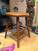 antique milk stool before refinishing