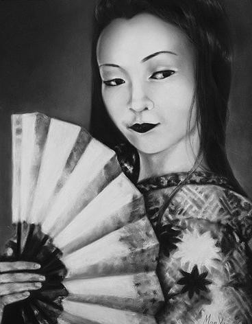 GEISHA WITH HAND FAN | GEISHA CON ABANICO
