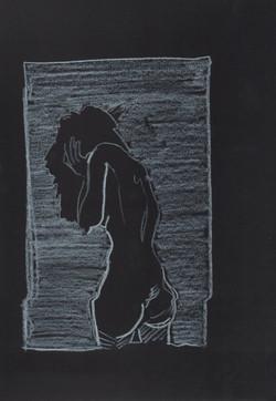 21. P. Alviti, studio di donna#21, 2008, cartoncino nero e pastello, cm21x29,7cm