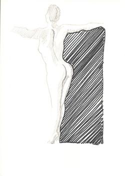 19. P. Alviti, studio di donna#19, 2008, matita e pennarello su carta, cm21x28cm