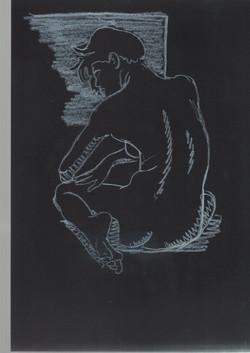 37. P. Alviti, studio di donna#37, 2008, cartoncino nero e pastello, cm21x29,7cm