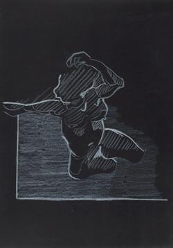 22. P. Alviti, studio di donna#22, 2008, cartoncino nero e pastello, cm21x29,7cm