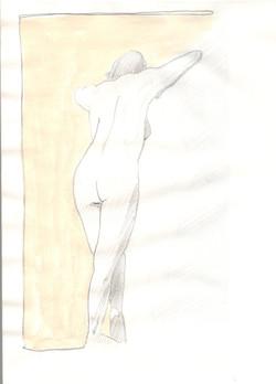 16. P. Alviti, studio di donna#16, 2008,  matita e pastello su carta, cm21x28cm.