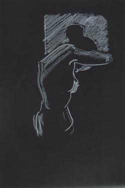 20. P. Alviti, studio di donna#20, 2008, cartoncino nero e pastello, cm21x29,7cm