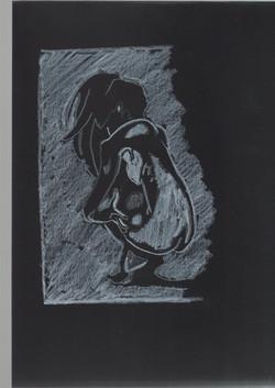 33. P. Alviti, studio di donna#33, 2008, cartoncino nero e pastello, cm21x29,7cm