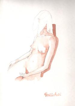 39. P. Alviti, studio di donna#39, 2008, acquarello e matita su carta, cm25x35cm