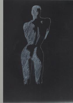27. P. Alviti, studio di donna#27, 2008, cartoncino nero e pastello, cm21x29,7cm