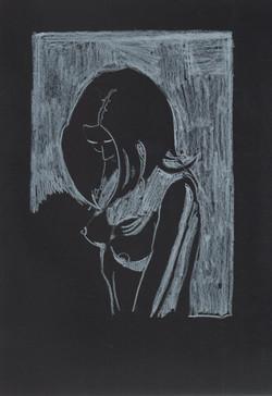 23. P. Alviti, studio di donna#23, 2008, cartoncino nero e pastello, cm21x29,7cm