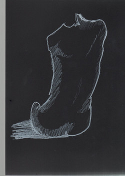 36. P. Alviti, studio di donna#36, 2008, cartoncino nero e pastello, cm21x29,7cm