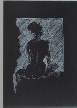 31. P. Alviti, studio di donna#31, 2008, cartoncino nero e pastello, cm21x29,7cm