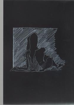 32. P. Alviti, studio di donna#32, 2008, cartoncino nero e pastello, cm21x29,7cm