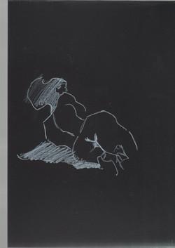 29. P. Alviti, studio di donna#29, 2008, cartoncino nero e pastello, cm21x29,7cm