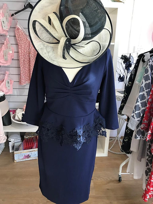 City Goddess Navy Peplum Dress size 12