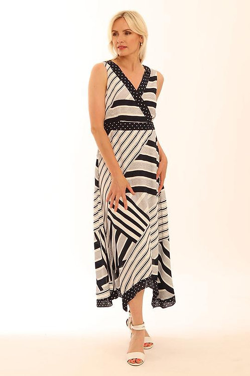 Pomodore striped dress in navy and white