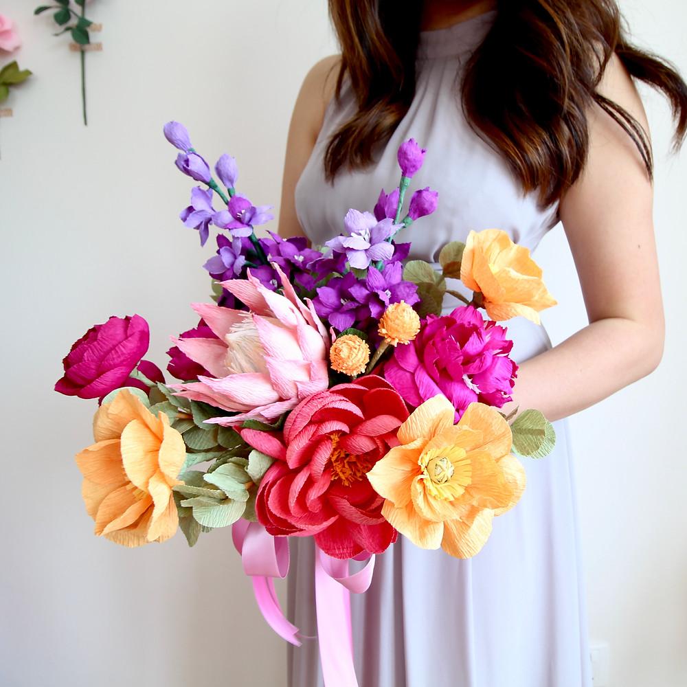 Crepe Paper Flower Bridal Bouquet