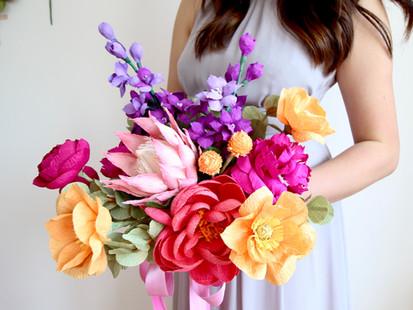 Crepe Paper Flower Bridal Bouquets and Arrangements
