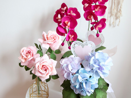 Chinese New Year and Valentine's Day Crepe Paper Flowers