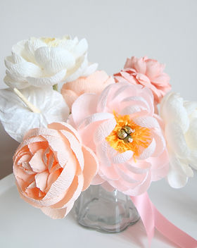 Crepe paper flower arrangement bridal bouquet