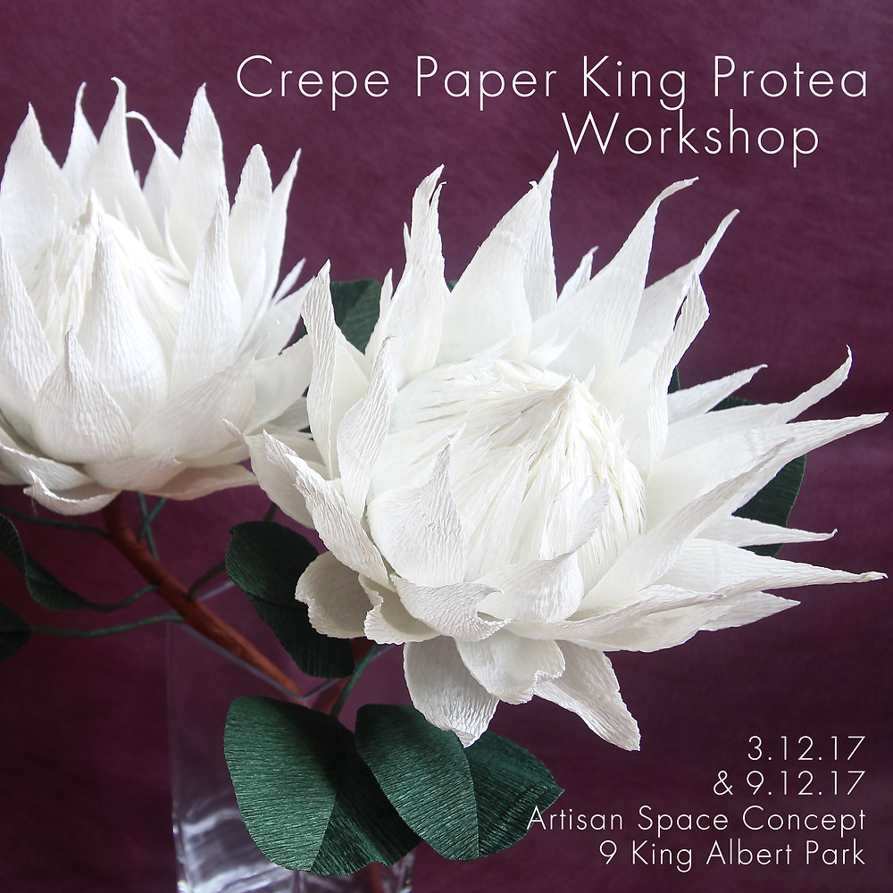 king protea paper flower craft workshop