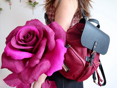 Gaston Luga Parlan Backpack + A Giant Crepe Paper Rose