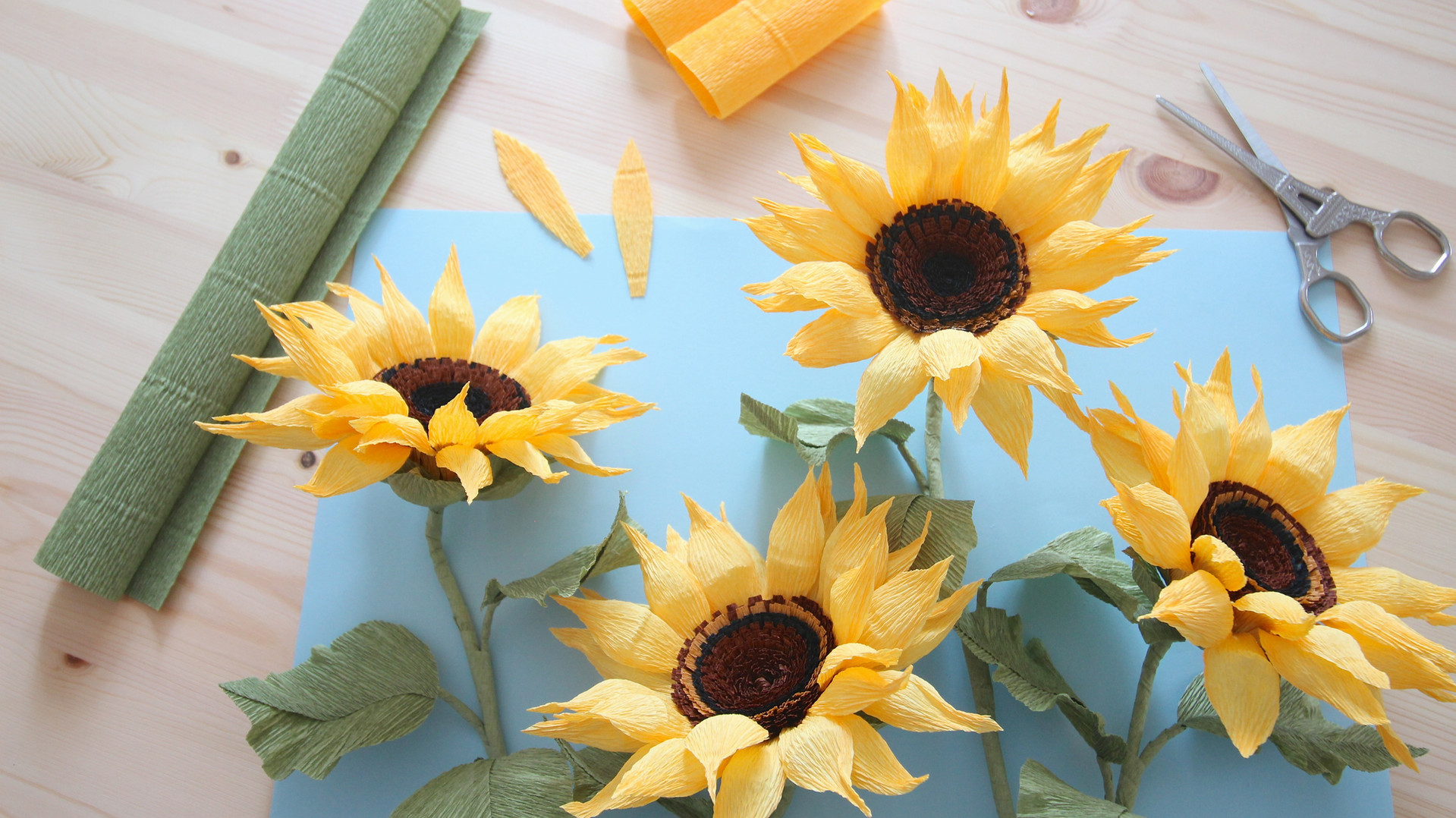Crepe Paper Sunflowers