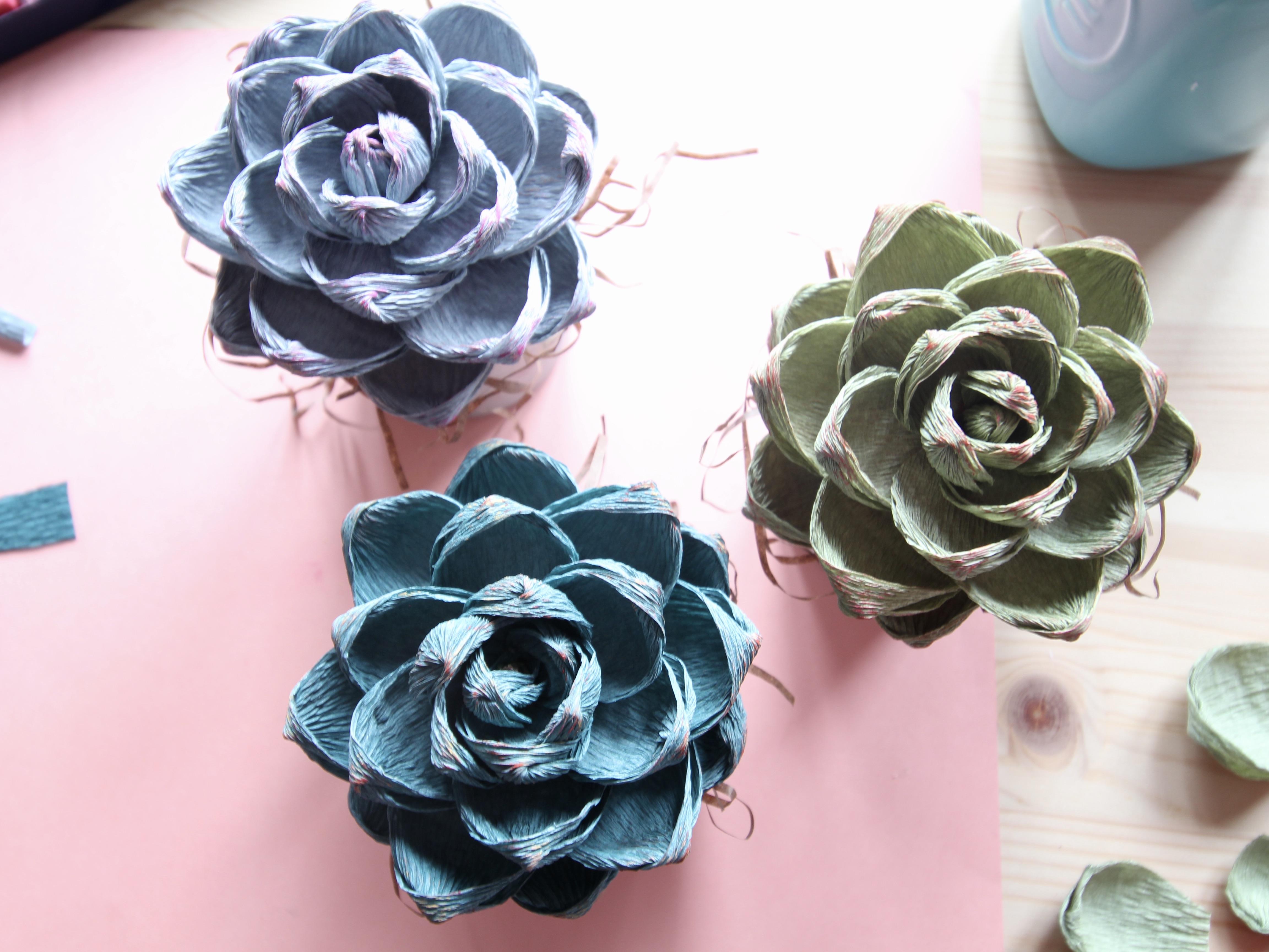 crepe paper succulent
