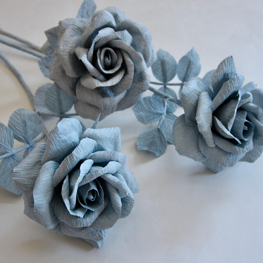 All Blue monochromatic crepe paper roses