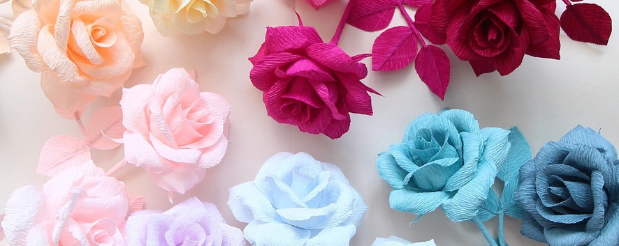 Monochromatic Crepe Paper Roses