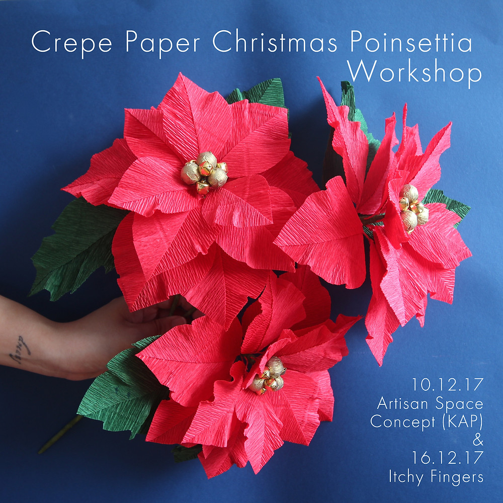 paper poinsettia christmas craft workshop