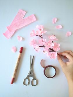Crepe Paper Cherry Blossoms