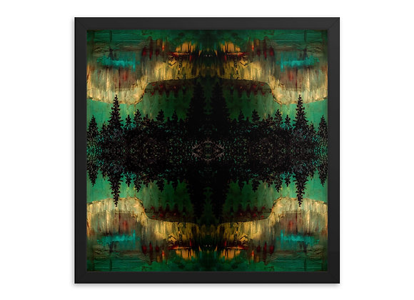 Northern Lights in Green Framed Poster Print