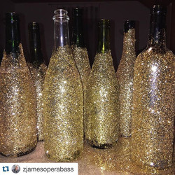 OI's General Director Zach James gets to work on New Year's Eve centerpieces with glitter and repurp