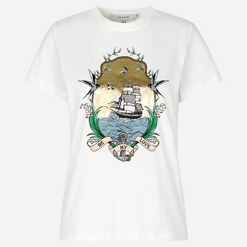 Trek -  White logo T-shirt by Munthe