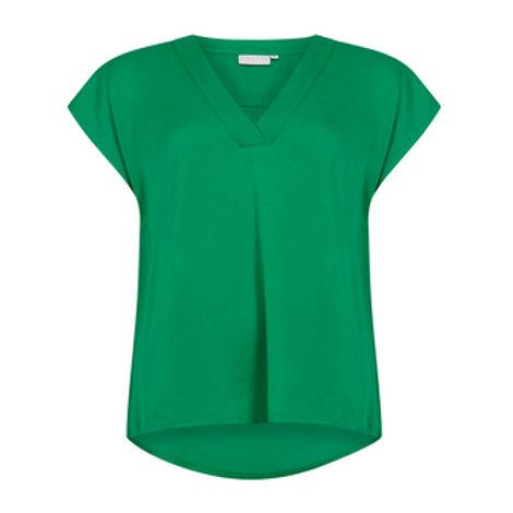 V-Neck top in Viscose - Emerald Green