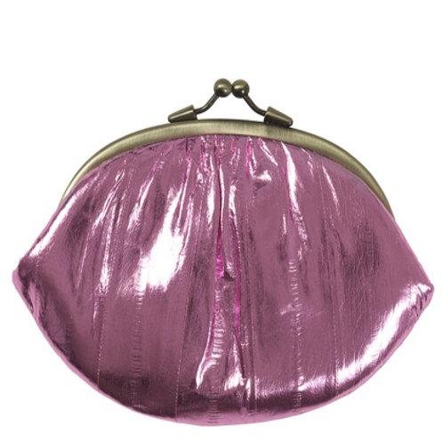 Metallic Eel skin purse by Becksondergaard - Pink