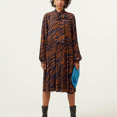 Enise Navy/Brown Zebra Dress by Gestuz