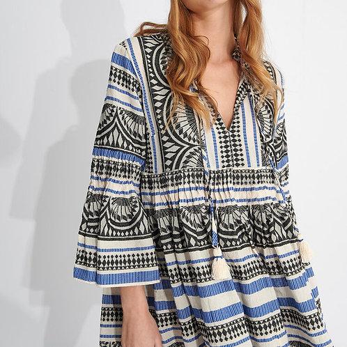 Zakar Greek Blue/Black embroidered Dress