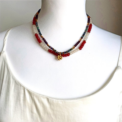 Double Layer Necklace with flower - by I am Jai