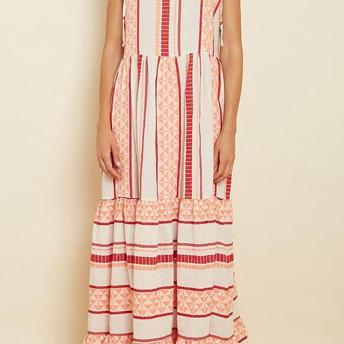Zakar Greek Red/Coral embroidered Maxi Dress