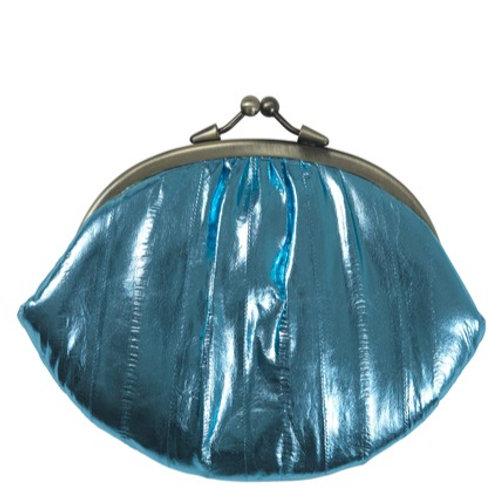 Metallic Eel skin purse by Becksondergaard -Light Blue