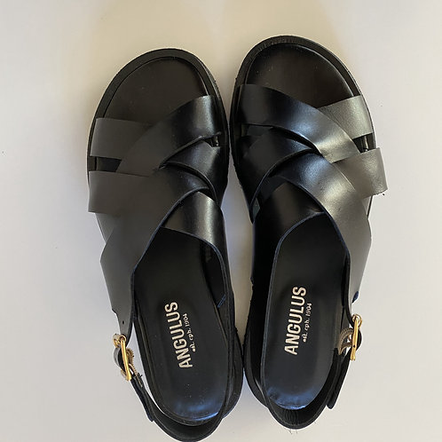 Leather Roman Black Sandal by Angulus