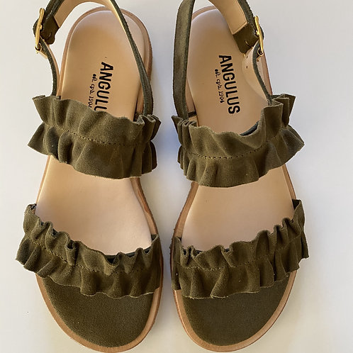 Leather Frill Sandal Khaki by Angulus
