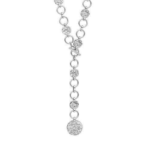 Amber T-bar hammered disk necklace - by Dansk