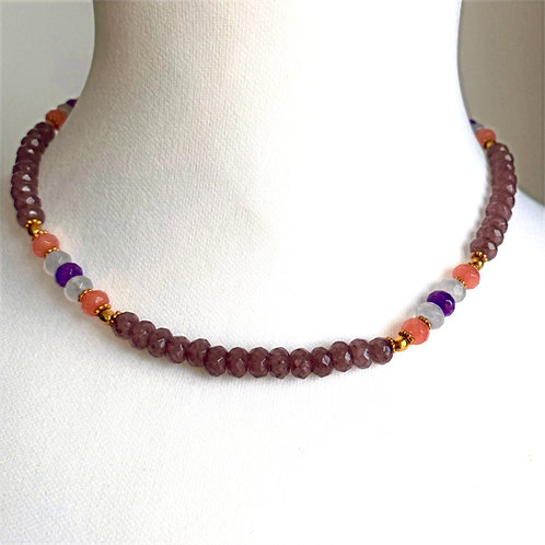 Large pastel precious stone necklace - by I am Jai