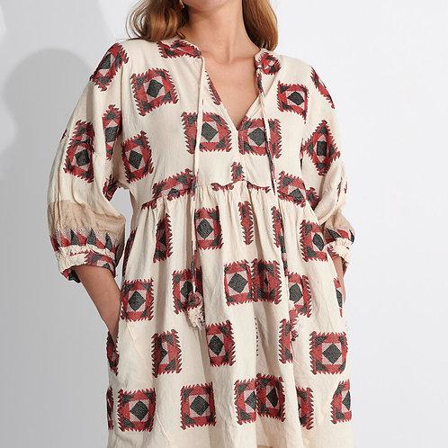 Zakar Greek Black/Red square pattern Dress