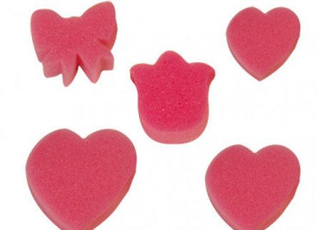 Set d'éponges tampons formes coeurs, papillons, tulipes-Graine Créative