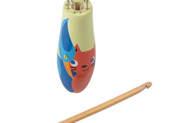 Tricotin chat/oiseau en bois BOHIN
