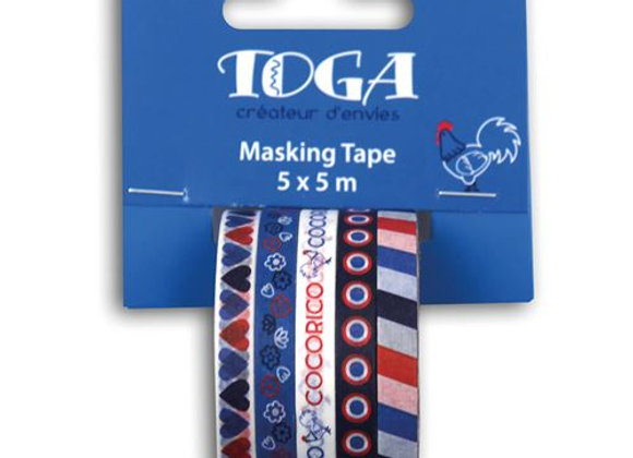 "5 mini rubans masking tapes ""Frenchy"" - Toga"