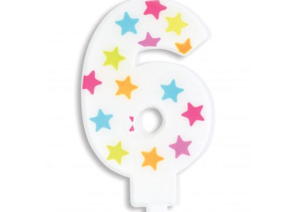 Bougie chiffre 6 à étoiles multicolores -Scrapcooking Party